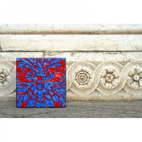 """Venezia - Inspired by Fortuny pattern """"Red and aqua"""""""
