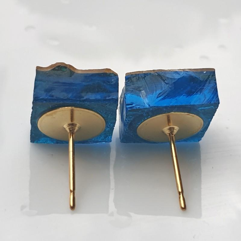Piccole Gioie - Laguna Sunrise - Pair of Yellow Gold Stud Earrings on Glass