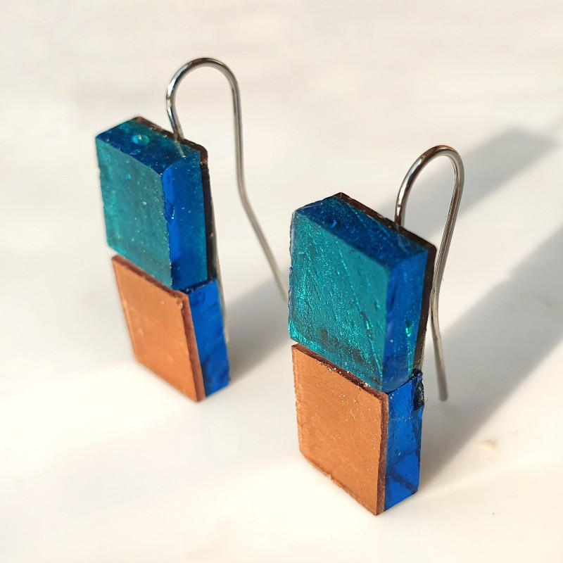 Piccole Gioie - Laguna Sunset - Pair of stud earrings in burnished gold on glass